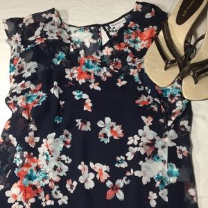 Floral navy blue blouse